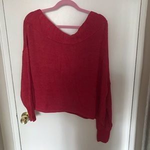 Free People Sweaters - Red Off the Shoulder Free People Sweater, Size M